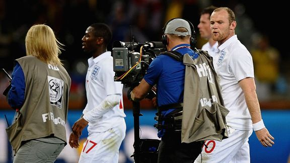 Wayne Rooney vents his frustrations to the media after England's dismal draw with Algeria in 2010.