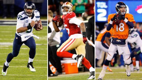 Russell Wilson, Michael Crabtree, Peyton Manning