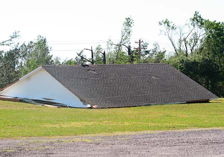 A roof has been separated from its house.