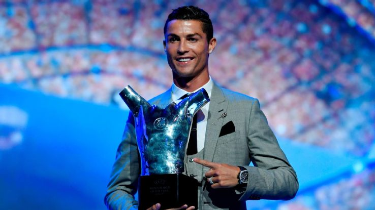 Watch as Real Madrid's Cristiano Ronaldo is named UEFA's Player of the Year for the third time.