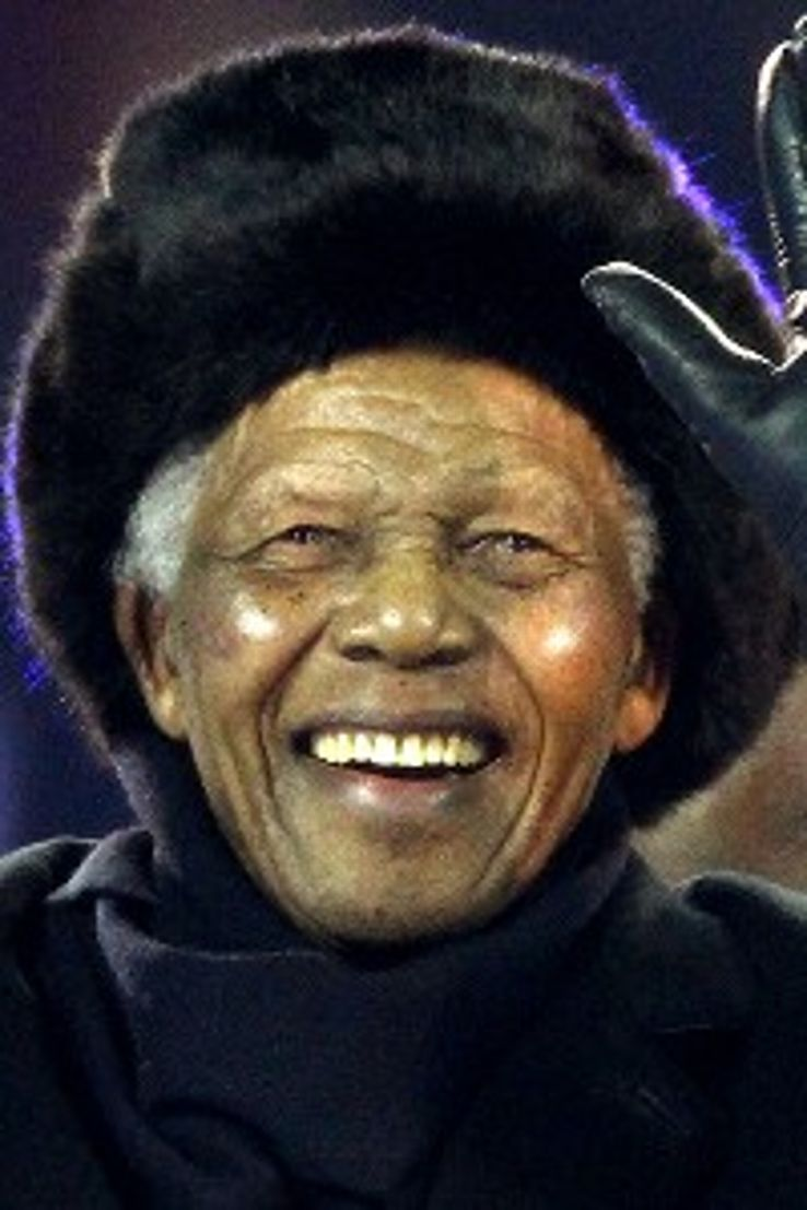 Mandela waves to the crowd at the 2010 World Cup final closing ceremony.