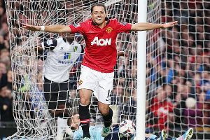 United's Javier Hernandez celebrates the first of his two goals.