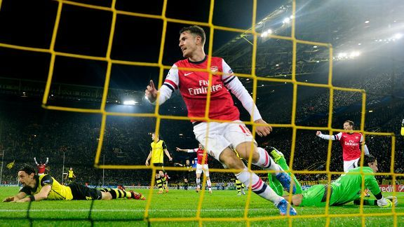 Aaron Ramsey's 62nd minute header against the run of play was enough to earn Arsenal all three points in Dortmund.
