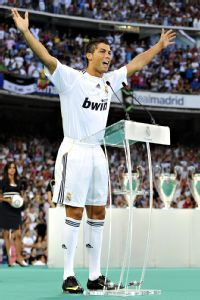 Ronaldo is introduced as a Real Madrid player in July 2009.