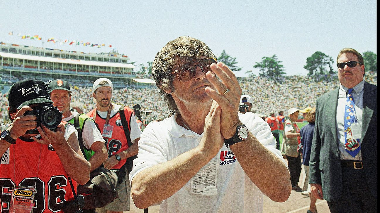 Bora Milutinovic shows his support of the U.S. fans at the 1994 World Cup.