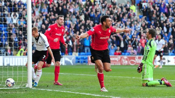 Steven Caulker scored twice for Cardiff City against Fulham.