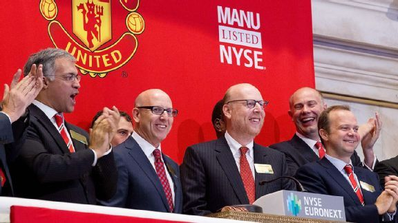 Joel and Avram Glazer (middle) are executive co-chairmen at Old Trafford.