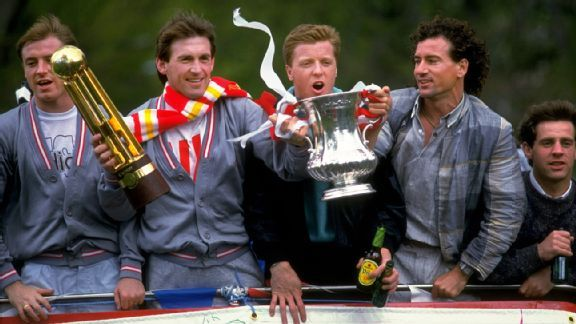 Left to right: Double winners Steve McMahon, Kenny Dalglish, Steve Nicol, Craig Johnston and Jim Beglin enjoy their open-top bus tour in 1986.