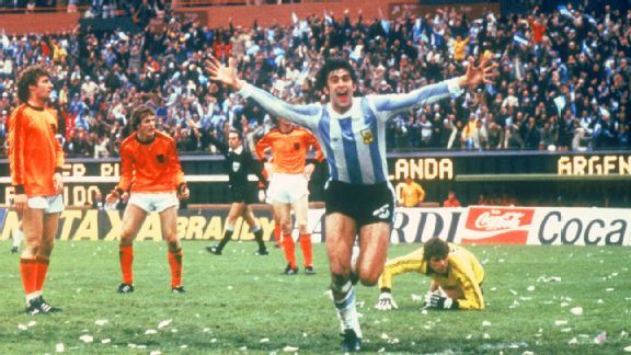 Mario Kempes scored twice in the 1978 final versus Holland to lead host country Argentina to their first ever World Cup.