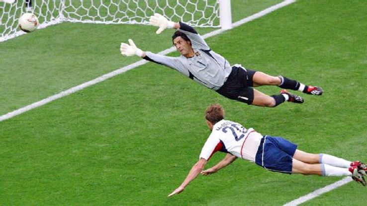 Brian McBride's soaring header put the U.S. 3-0 up on Portugal in their first match at the 2002 World Cup.