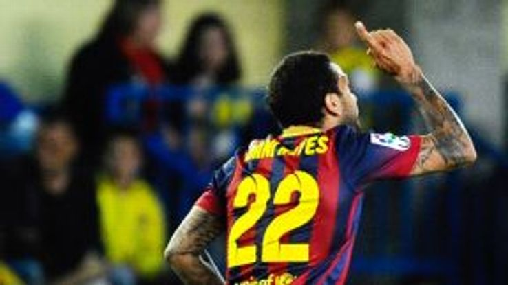 A spectator threw a banana at Barcelona full-back Dani Alves during his team's match with Villarreal.