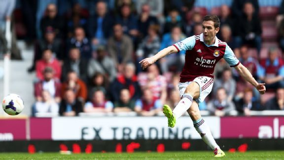 Stewart Downing stroked in West Ham's second goal of the day in Saturday's 2-0 win over Tottenham.