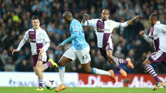 Aston Villa failed to keep pace with Yaya Toure and Manchester City in the second half of Wednesday's 4-0 defeat.