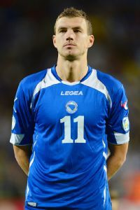 Edin Dzeko has 33 goals in 60 career international matches for Bosnia-Herzegovina.
