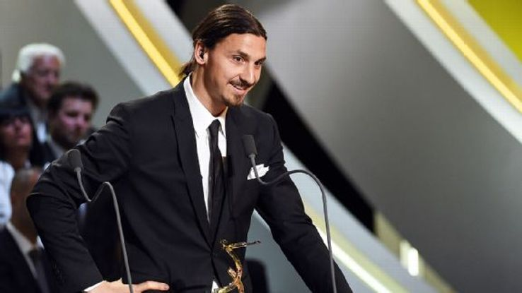 PSG's Zlatan Ibrahimovic was named Player of the Year in Ligue 1 for the second straight season.