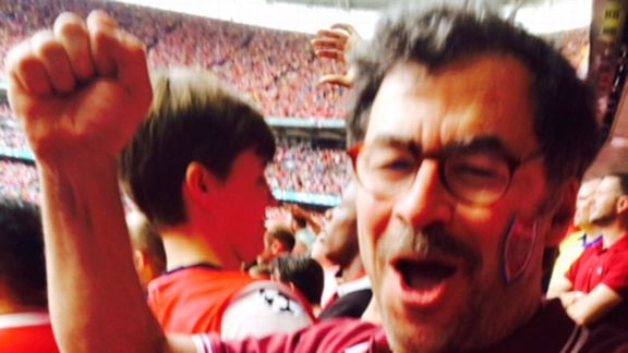 The author celebrates Arsenal's Wembley victory.
