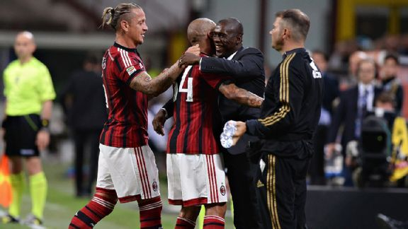Clarence Seedorf celebrates with his team after their first goal. AC Milan beat Sassuolo 2-1, but failed to qualify for European competition next season.