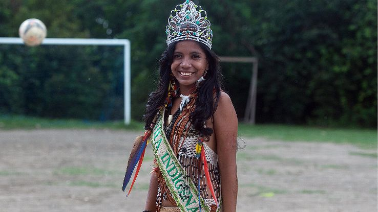 The indigenous queen of Peladao, 18-year-old Suellen, poses for a picture. Beauty pageants are a popular part of the tournament.
