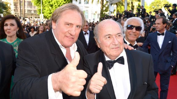 Gerard Depardieu and FIFA chief Sepp Blatter were all smiles at the Cannes Film Festival.