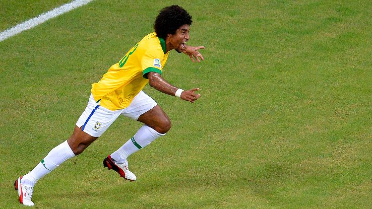 Brazilian defender Dante celebrates his goal versus Italy in last summer's Confederations Cup.