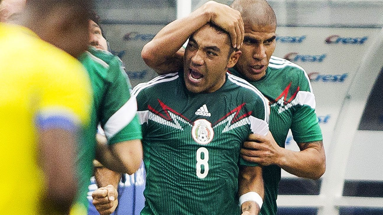 Marco Fabian celebrates after scoring a wondergoal against Ecuador in Mexico's 3-1 win.