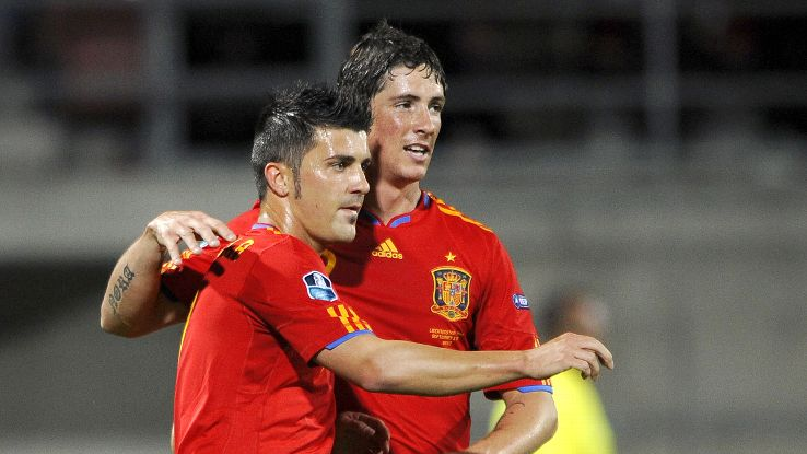 Veterans of Spain's 2010 triumph, David Villa and Fernando Torres will lead the Spanish attack with Diego Costa.