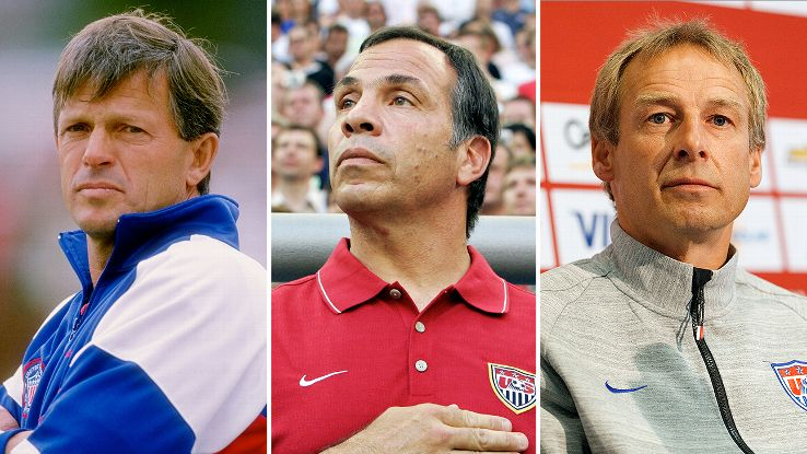 Bob Gansler, left, Bruce Arena, center, and Jurgen Klinsmann, right, are among six coaches to take the U.S. to the World Cup since 1990.