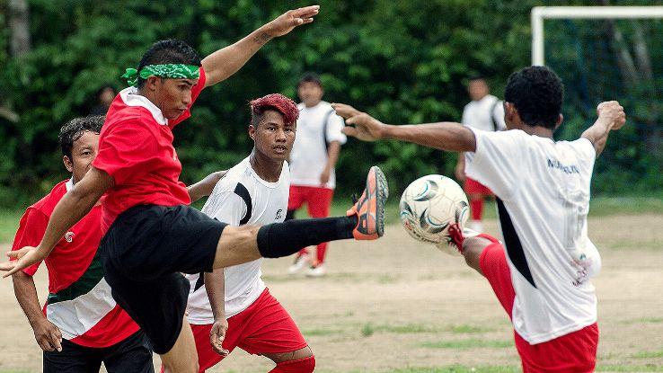Amateur teams play in the Peladao, Manaus' biggest football tournament.