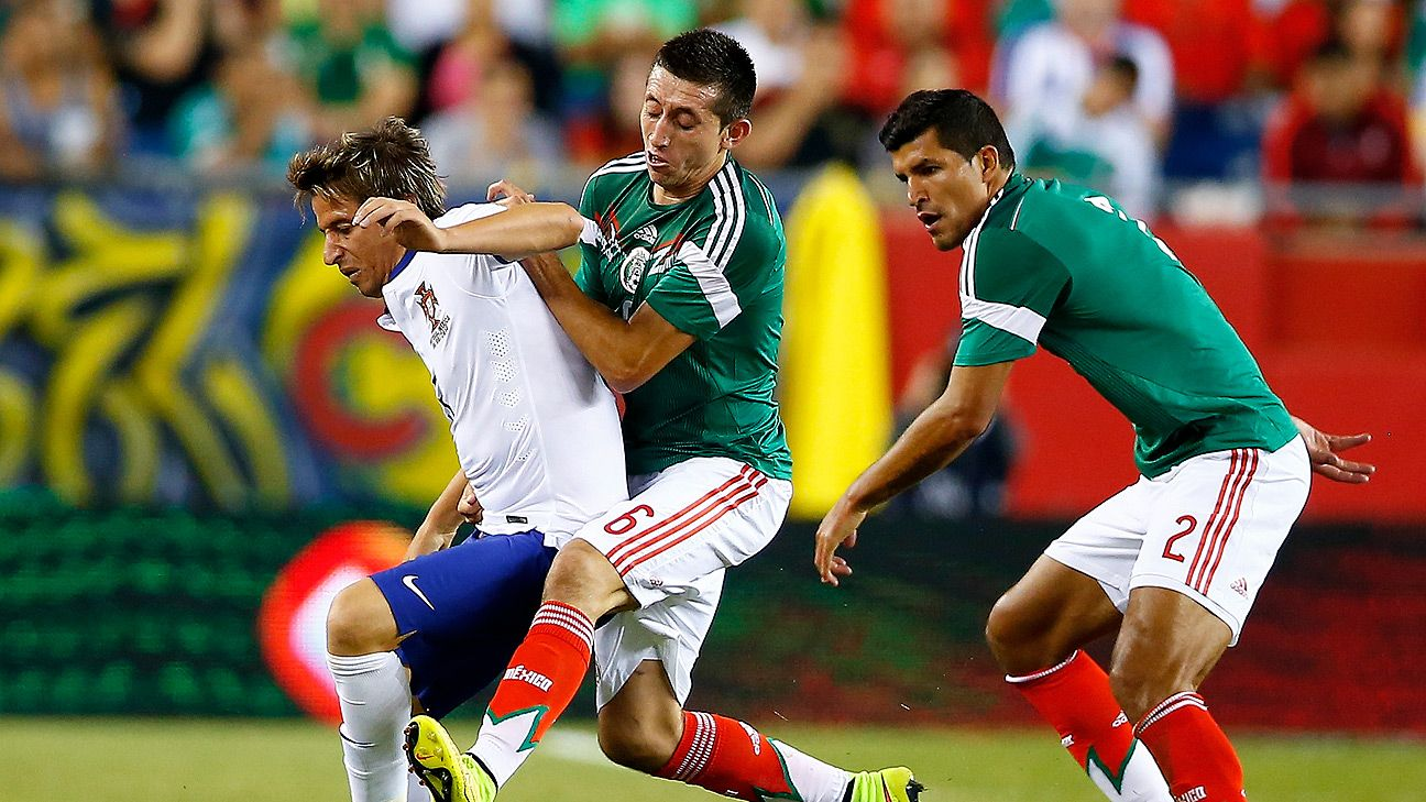 Mexico's Hector Herrera, middle, was one of the standout players for El Tri versus Portugal.