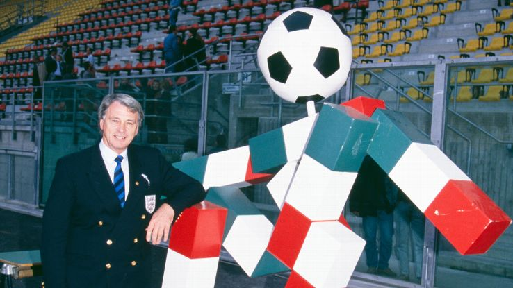 Ciao, a stick figure pictured here with then-England boss Bobby Robson, was the mascot for the 1990 World Cup in Italy.