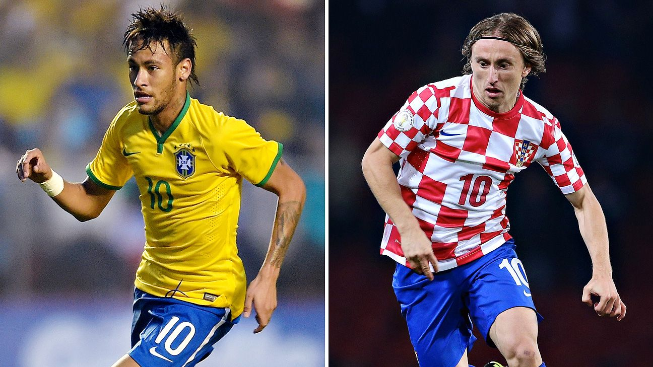Club rivals Neymar and Luka Modric square off in the 2014 World Cup opener.