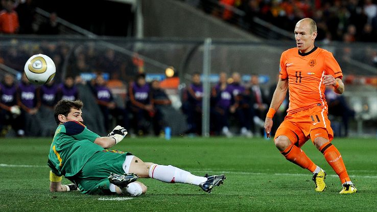 Spain's Iker Casillas saves a shot from the Netherlands' Arjen Robben in the second half of the 2010 World Cup final.
