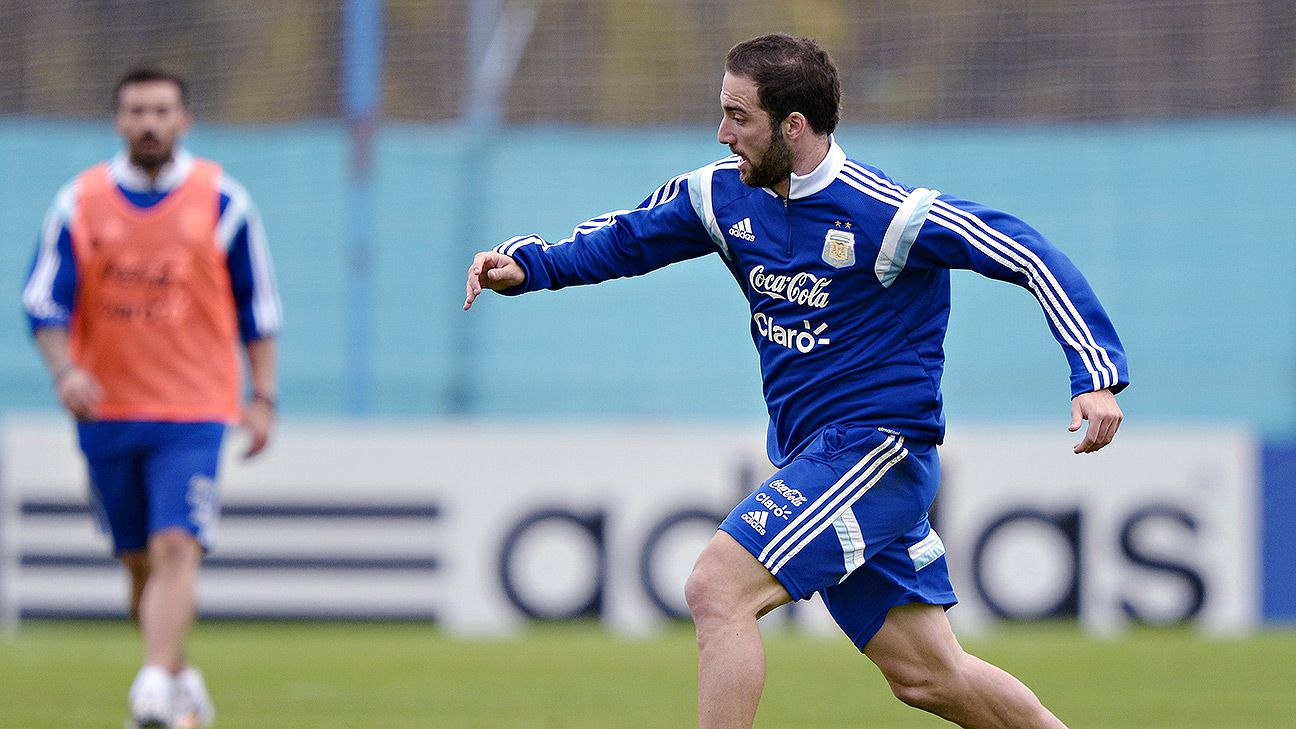 Gonzalo Higuain will occupy the centre forward position for Argentina at the World Cup.