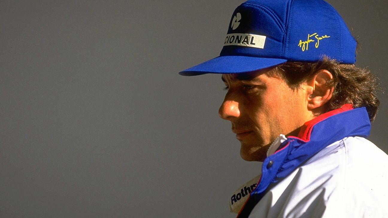 Ayrton Senna in his iconic blue hat. Senna usurped the Selecao in terms of popularity and success until his tragic death on May 1, 1994.