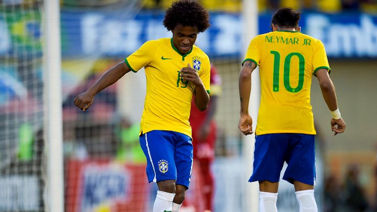 Rhythmic goal celebrations, as demonstrated by Willian and Neymar, have become traditional Brazilian fare.