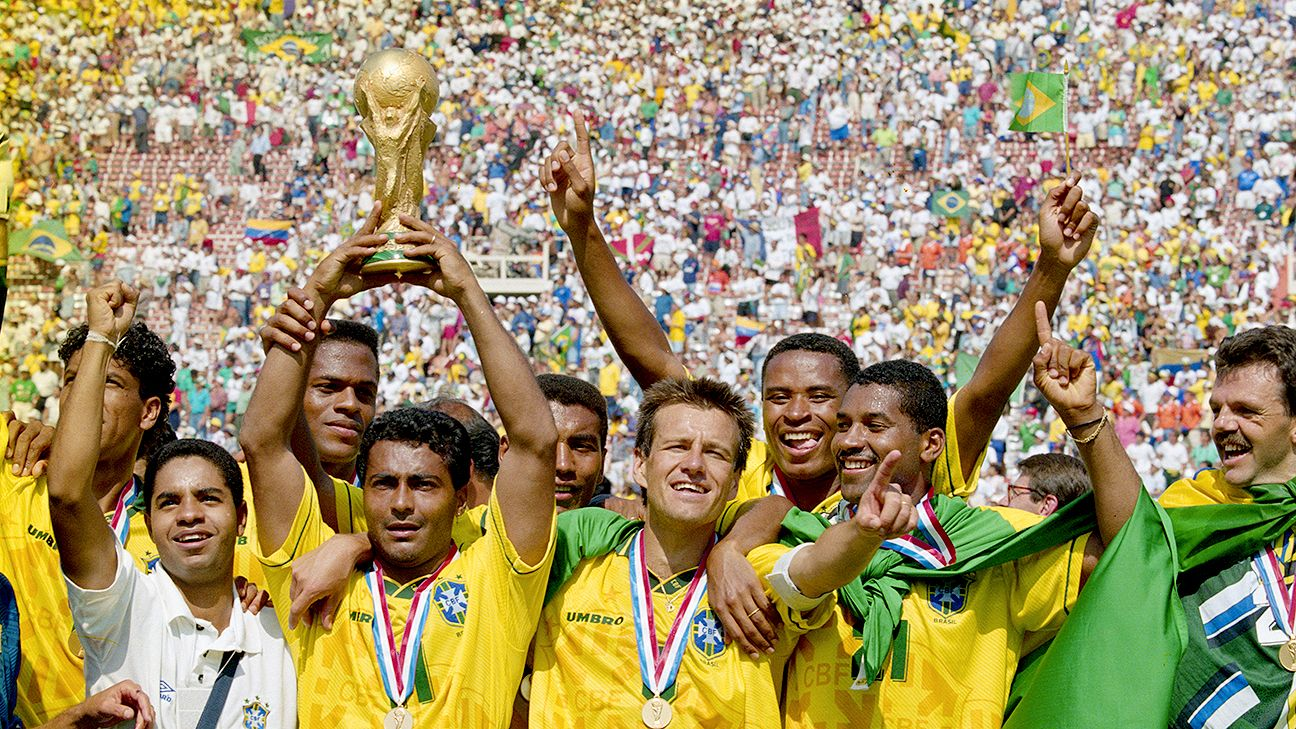 Brazil celebrate their hard-fought victory over Italy in the first World Cup final to be decided on penalties.