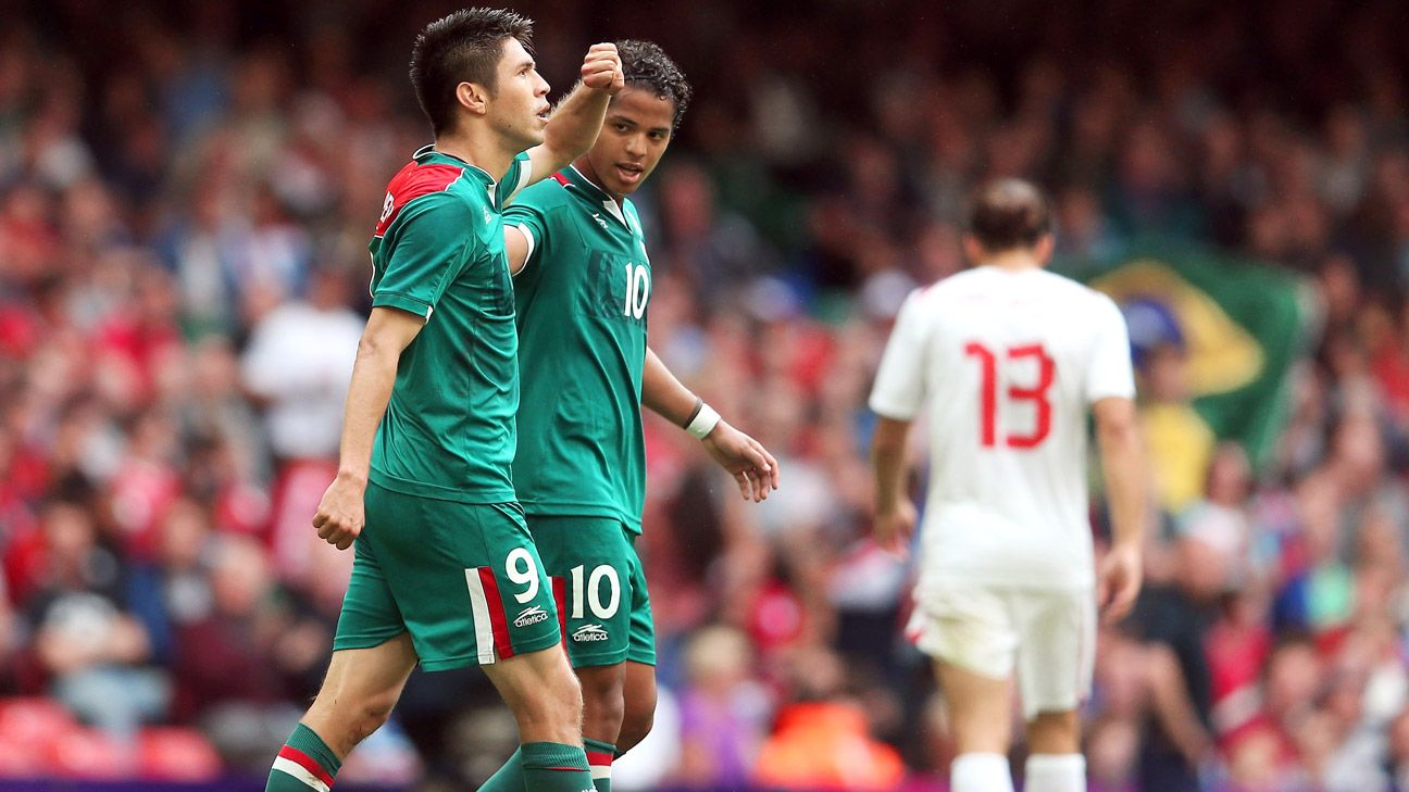 Mexico hopes to strike gold again with Olympic heroes Oribe Peralta and Giovani Dos Santos up top in attack.