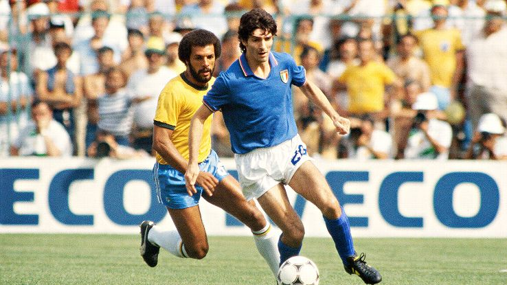 Italy's Paolo Rossi destroyed one of the best Brazilian sides ever at the 1982 World Cup.