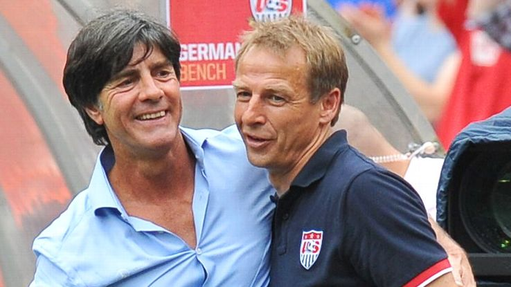 Germany coach Joachim Loew will meet his former boss, U.S. manager Jurgen Klinsmann, in the group stage.