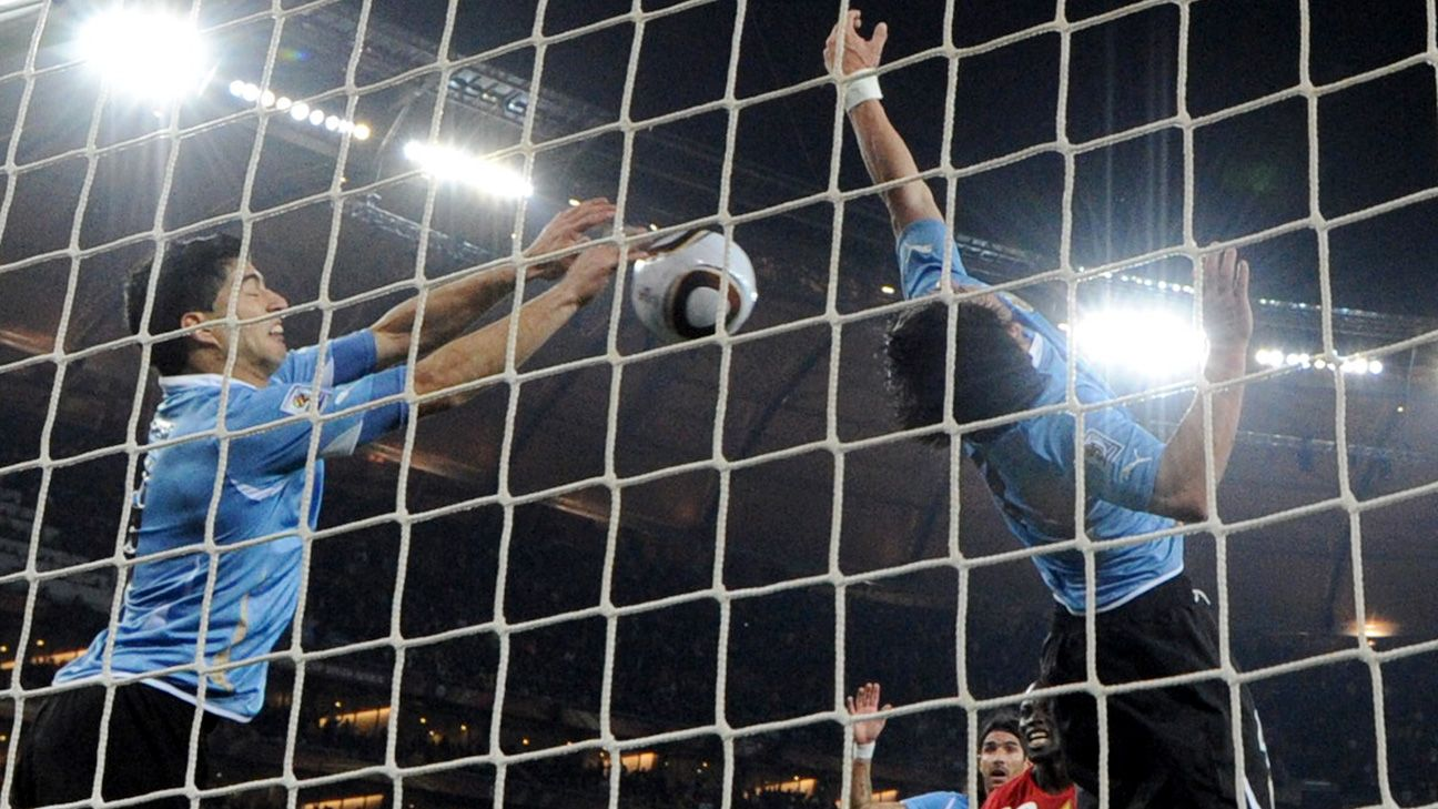 His handball in 2010 helped Uruguay to the semifinals at Ghana's expense.