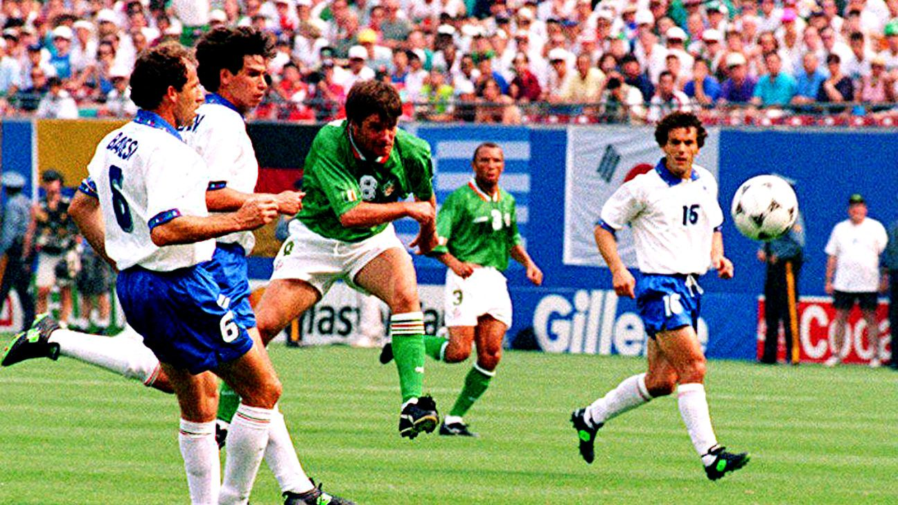 Ray Houghton fires the shot that gave Ireland a 1-0 win over Italy.