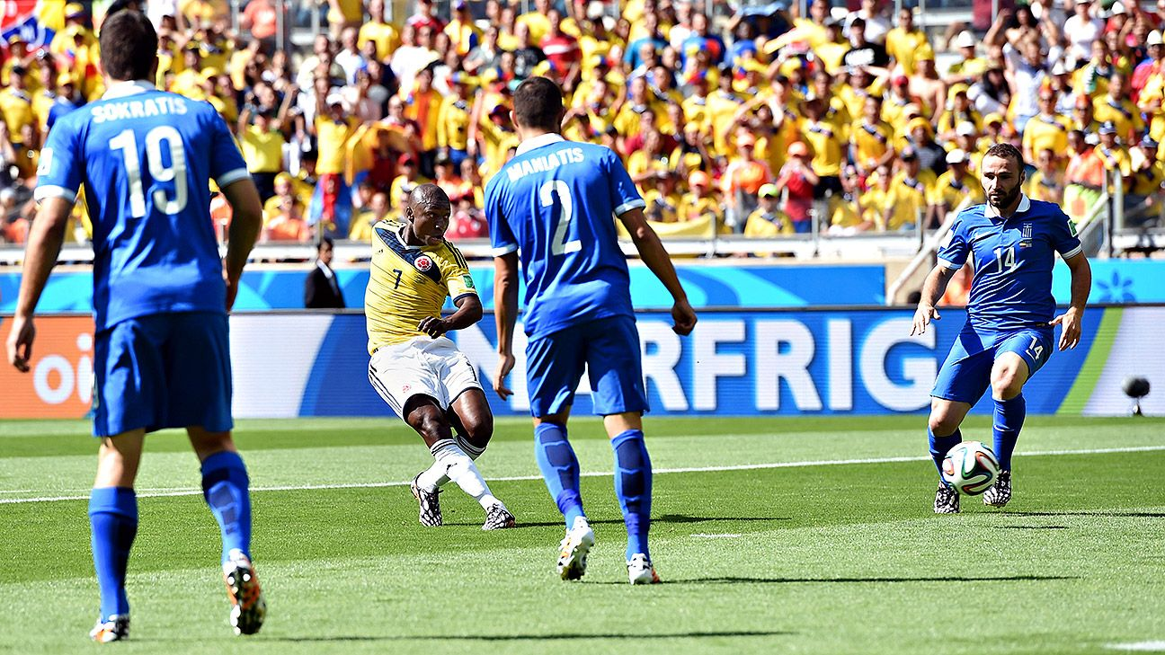 It took less than five minutes for Pablo Armero and Colombia to split open the Greek defence.