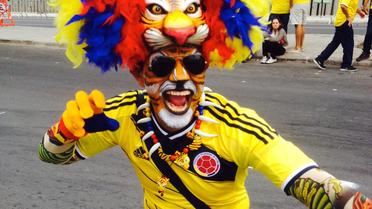 Colombia's fans fill the streets of Belo Horizonte.
