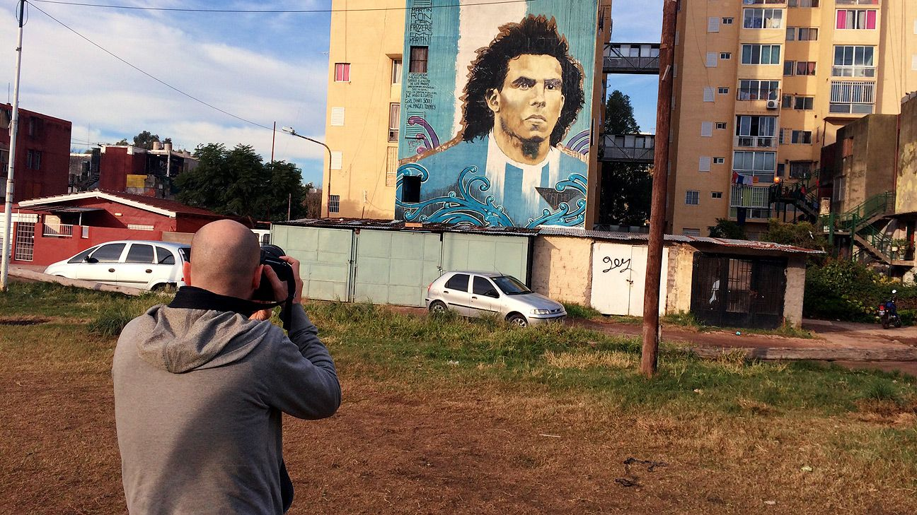 The mural tribute to Carlos Tevez, whose omission from Argentina's World Cup team has sparked endless theories.