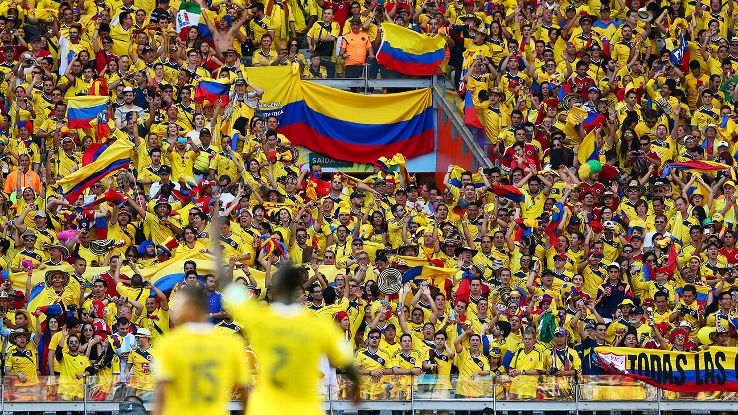 Colombia fans in Belo Horizonte celebrate a decisive victory over Greece.