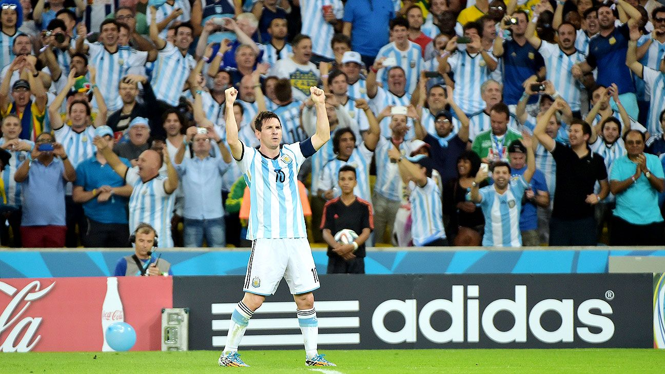 Lionel Messi celebrates in Argentina's win over Bosnia-Herzegovina.