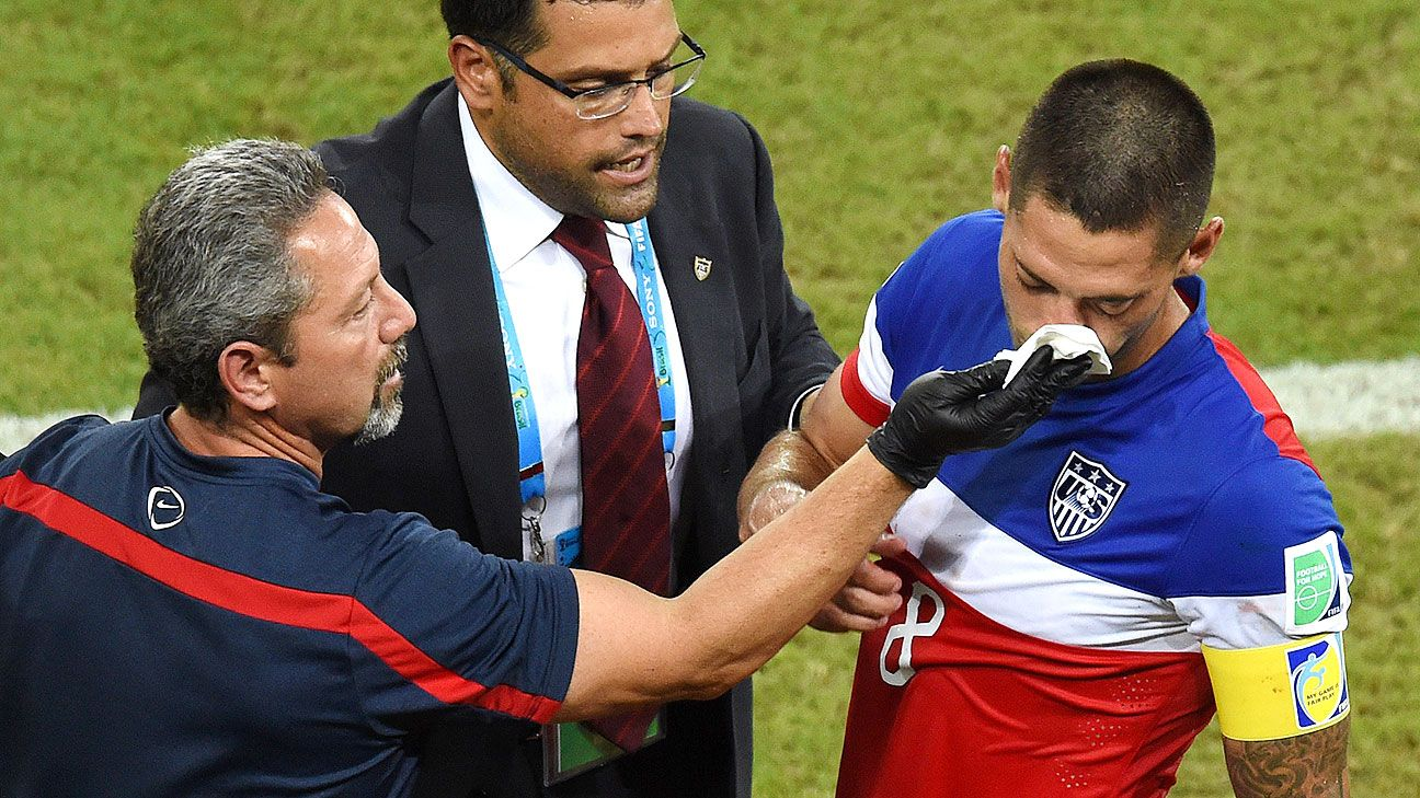 Dempsey played the majority of the match vs. Ghana with a broken nose.