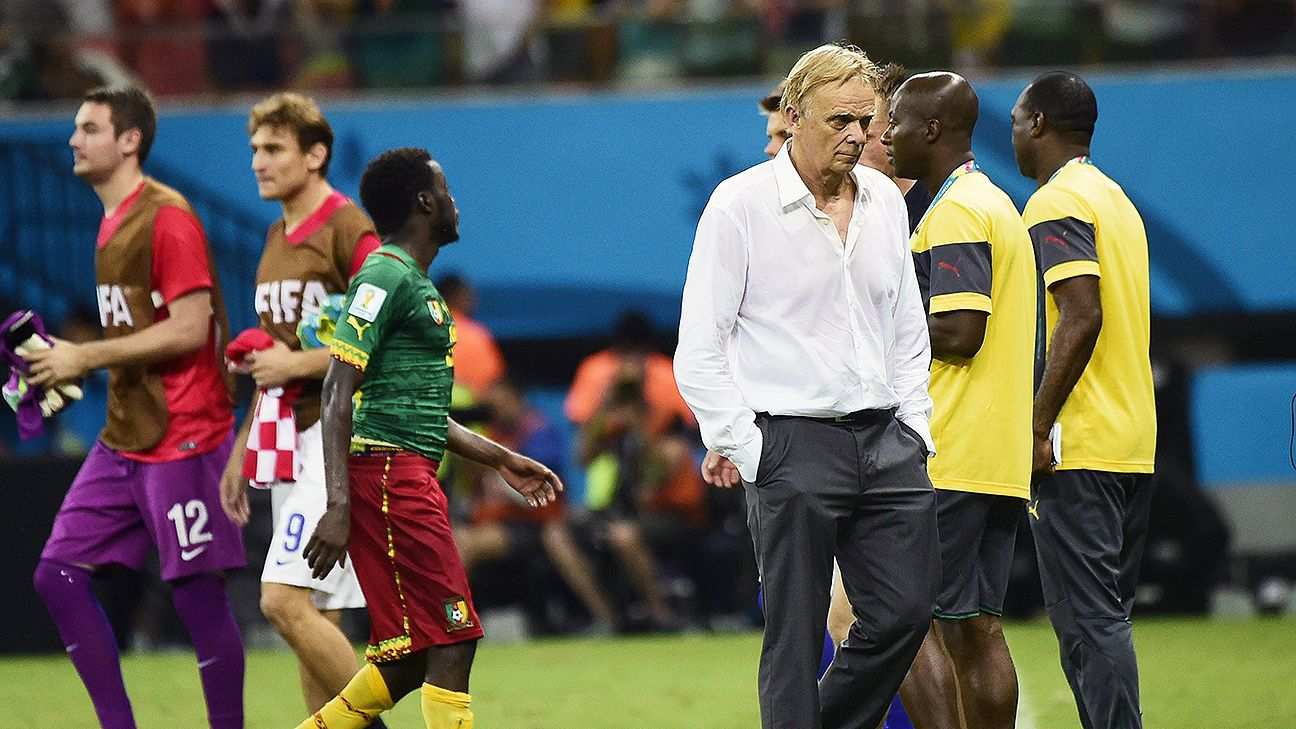 Cameroon coach Volker Finke saw his team capitulate in a dismal 4-0 loss to Croatia.