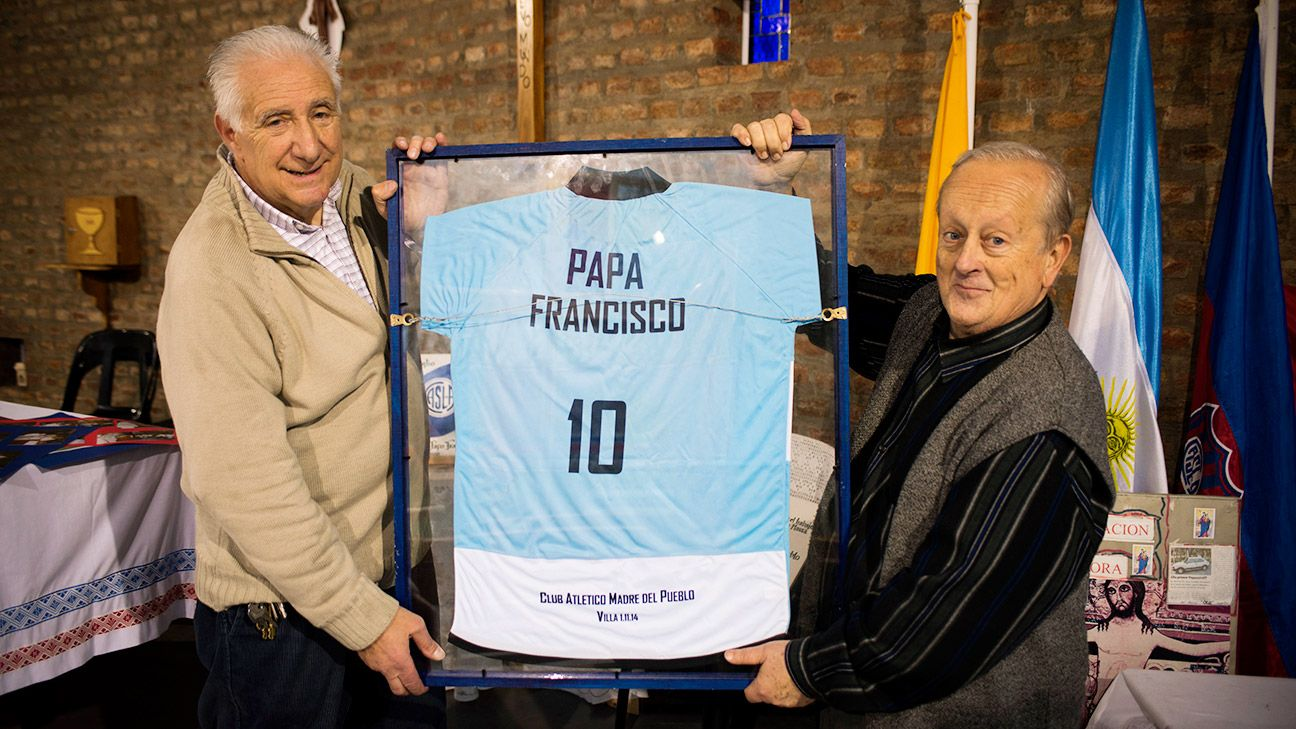 Oscar Lucchini, left, and Mario Benigni are soccer fans in Argentina who know Pope Francis.