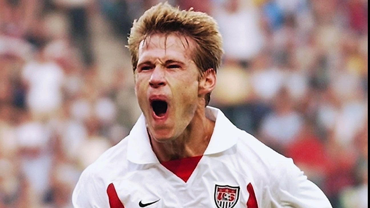 Brian McBride was whooping it up after giving the U.S. a 3-0 lead against Portugal during their 2002 World Cup match.